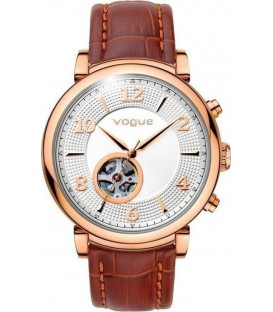 VOGUE Aramis Automatic Rose Gold Brown Leather Strap 550621