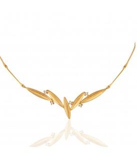 Χειροποίητο κολιέ χρυσό με φύλλα ελιάς και λευκά ζιργκόν
