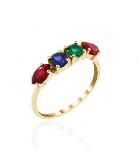 Δαχτυλίδι Rainbow σειρέ με σμαράγδι, ρουμπίνι και ζαφείρι