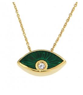 Ιδιαίτερο κολιέ μάτι με πράσινο σμάλτο και ένα διαμάντι