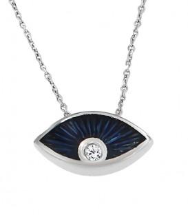 Ιδιαίτερο κολιέ μάτι με μπλέ σμάλτο και ένα διαμάντι