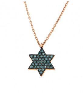 Κολιέ αστέρι του Δαβίδ με μπλέ διαμάντια