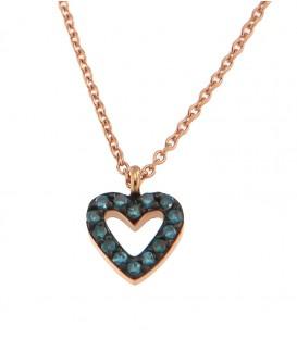 Κολιέ καρδιά με μπλέ διαμάντια