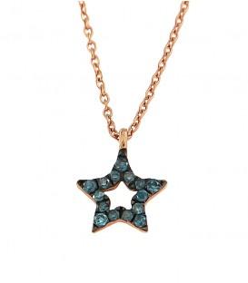 Κολιέ αστέρι με μπλέ διαμάντια