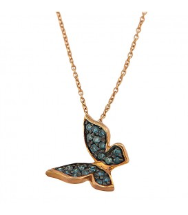 Κολιέ πεταλούδα με μπλέ διαμάντια