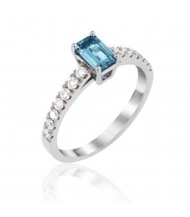 Δαχτυλίδι με Άκουα μαρίνα και διαμάντια