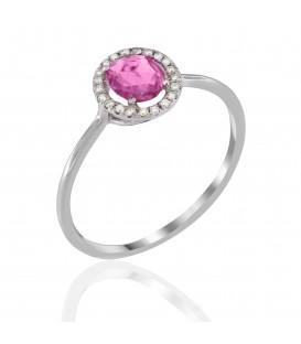 Φινετσάτο δαχτυλίδι ροζέτα με ροζ ζαφείρι και διαμάντια