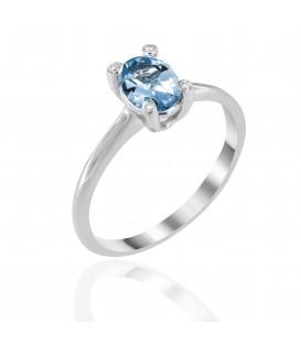 Δαχτυλίδι με οβάλ Άκουα μαρίνα και διαμάντια