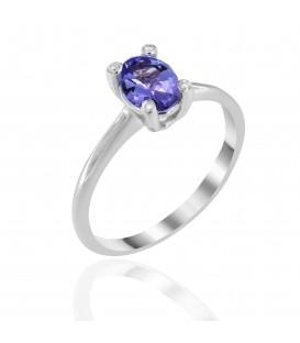 Δαχτυλίδι με οβάλ τανζανίτη και διαμάντια