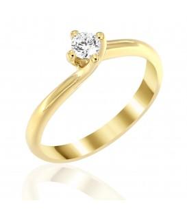 Μονόπετρο φλόγα με διαμάντι από κίτρινο χρυσό