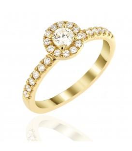 Μονόπετρο ροζέτα με διαμάντια από κίτρινο χρυσό