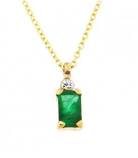 Μίνιμαλ κολιέ με ορθογώνιο σμαράγδι και διαμάντι