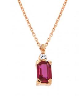 Μίνιμαλ κολιέ με ορθογώνιο ρουμπίνι και διαμάντι