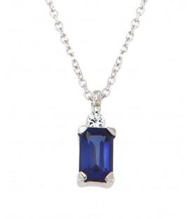 Μίνιμαλ κολιέ με ορθογώνιο ζαφείρι και διαμάντι