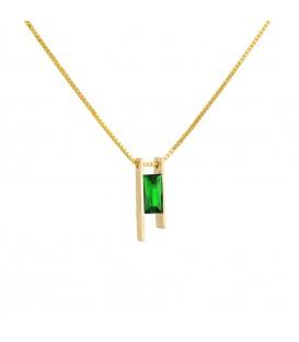 Φινετσάτο κολιέ με ορθογώνιο πράσινο ζιργκόν