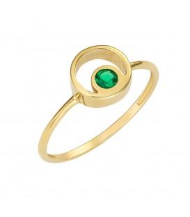 Φινετσάτο δαχτυλίδι από χρυσό με πράσινο ζιργκόν