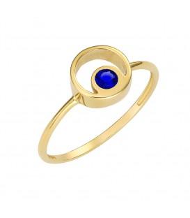 Φινετσάτο δαχτυλίδι από χρυσό με μπλέ ζιργκόν