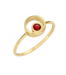 Φινετσάτο δαχτυλίδι από χρυσό με κόκκινο ζιργκόν