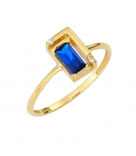 Δαχτυλίδι από χρυσό με μπλέ ζιργκόν