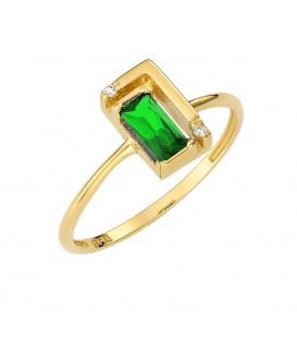 Δαχτυλίδι από χρυσό με πράσινο ζιργκόν