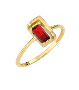 Δαχτυλίδι από χρυσό με κόκκινο ζιργκόν