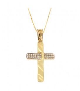 Γυναικείος βαπτιστικός σταυρός δύο όψεων από χρυσό