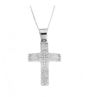 Γυναικείος βαπτιστικός σταυρός δύο όψεων από λευκόχρυσο