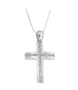 Γυναικείος βαπτιστικός σταυρός από λευκόχρυσο