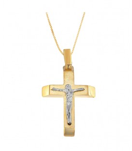 Ανδρικός βαπτιστικός σταυρός με εσταυρωμένο δύο όψεων από χρυσό