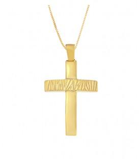 Ανδρικός βαπτιστικός σταυρός δύο όψεων από χρυσό