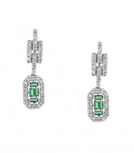 Fashion σκουλαρίκια με πράσινη πέτρα