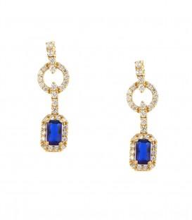 Fashion σκουλαρίκια με μπλέ πέτρα