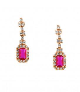 Fashion σκουλαρίκια με κόκκινη πέτρα