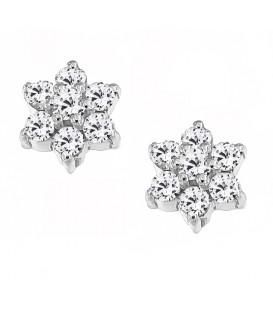 Σκουλαρίκια Ροζέτα με διαμάντια λευκόχρυσα