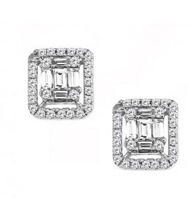 Fashion σκουλαρίκια ορθογώνια με διαμάντια μπαγέτες