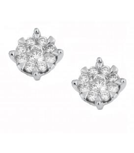 Σκουλαρίκια ρόμβος με διαμάντια λευκόχρυσα
