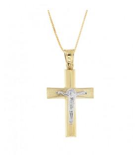 Ανδρικός βαπτιστικός σταυρός με εσταυρωμένο από χρυσό