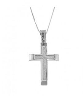 Ανδρικός βαπτιστικός σταυρός από λευκόχρυσο