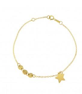Fashion βραχιόλι με αστεράκι απο κίτρινο χρυσό