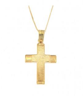 Ανδρικός βαπτιστικός σταυρός από κίτρινο χρυσό