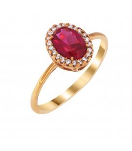 Δαχτυλίδι ροζέτα από ροζ χρυσό με κόκκινο ζιργκόν