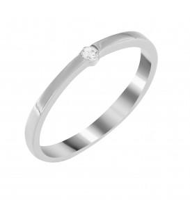 Δαχτυλίδι μονόπετρο από λευκό χρυσό με ζιργκόν