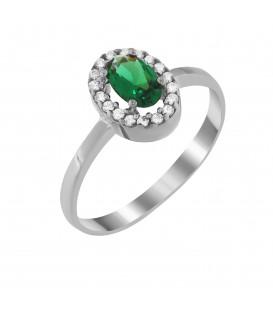 Δαχτυλίδι ροζέτα από λευκό χρυσό με πράσινο ζιργκόν