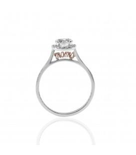 Δαχτυλίδι μονόπετρο mama από λευκό χρυσό με ζιργκόν
