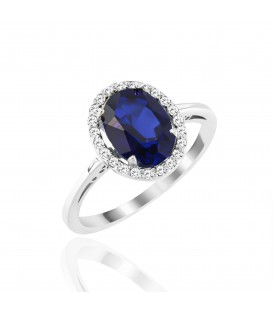 Δαχτυλίδι με οβάλ ζαφείρι και διαμάντια