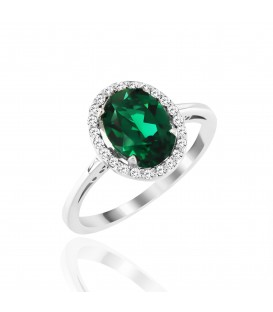 Δαχτυλίδι με οβάλ σμαράγδι και διαμάντια