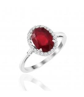 Δαχτυλίδι με οβάλ ρουμπίνι και διαμάντια