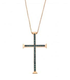 Fashion σταυρός με μπλέ διαμάντια