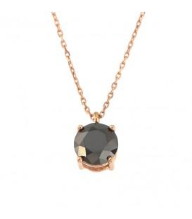 Κολιέ μονόπετρο λαιμού με μαύρο διαμάντι