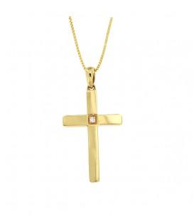 Φινετσάτος σταυρός με διαμάντι από κίτρινο χρυσό